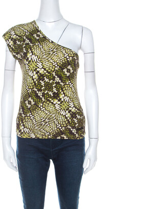 Just Cavalli Green Cotton Animal Print One Shoulder Top M
