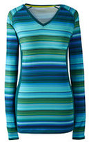 Classic Women's Active Long Sleeve V-neck T-shirt-Green Multi Stripe