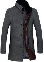 Oncefirst Men's Detachable Fur Collar Solid Color Zip Wool Coat M