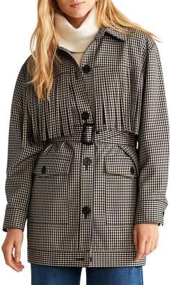 MANGO Prince of Wales Check Trench Coat