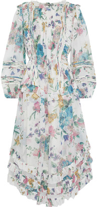Zimmermann Ninety-six Linear Pintucked Floral-print Georgette Midi Dress