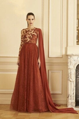 GEORGES HOBEIKA Beaded Perforated Lace Gown with Shawl