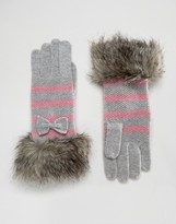 Alice Hannah Seed Stitch Stripe with Faux Fur Trim Glove
