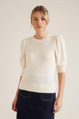 Seed Heritage Gathered Sleeve Crop Sweater