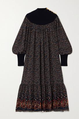 Chloé Floral-print Silk-georgette And Wool-blend Midi Dress - Navy