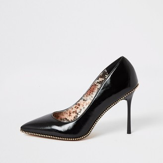 River Island Black beaded trim high heel court shoes