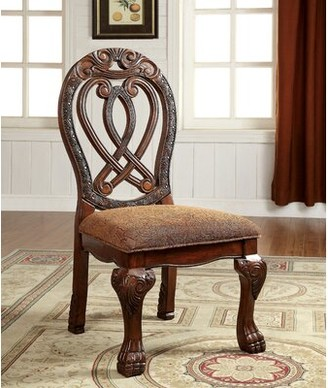 Hokku Designs Dolores Upholstered Queen Anne Back Side Chair Color: Cherry