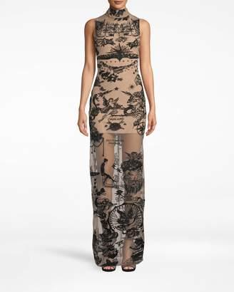 Nicole Miller Tattoo Mesh Turtleneck Gown