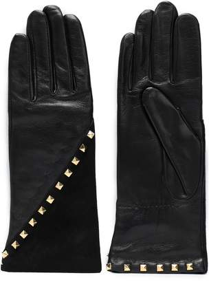 Agnelle Studded Leather And Suede Gloves