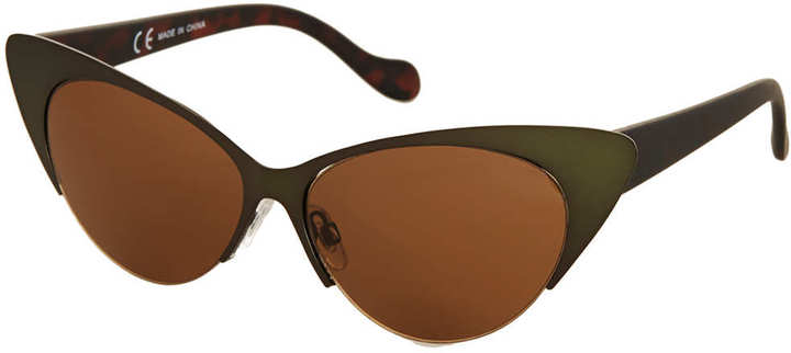 Cat Eye Petrol metal frame cateye sunglasses with plastic arm detail. 100% plastic.