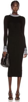Maison Margiela Pleated Dress in Black & White | FWRD
