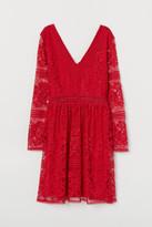 H&M Lace V-neck Dress - Red