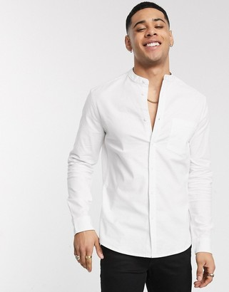 ASOS DESIGN slim fit organic oxford shirt in white with grandad collar