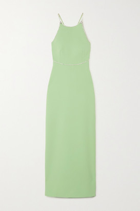 Miu Miu Open-back Crystal-embellished Cady Gown - Green