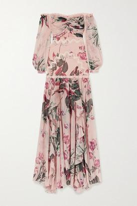 PatBO Carolina Off-the-shoulder Crochet-trimmed Floral-print Chiffon Maxi Dress - Pink