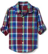 Plaid poplin convertible shirt