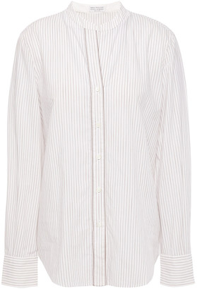Brunello Cucinelli Bead-embellished Pinstriped Cotton-poplin Shirt