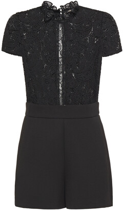 Maje Ruffle-trimmed Lace And Crepe Playsuit