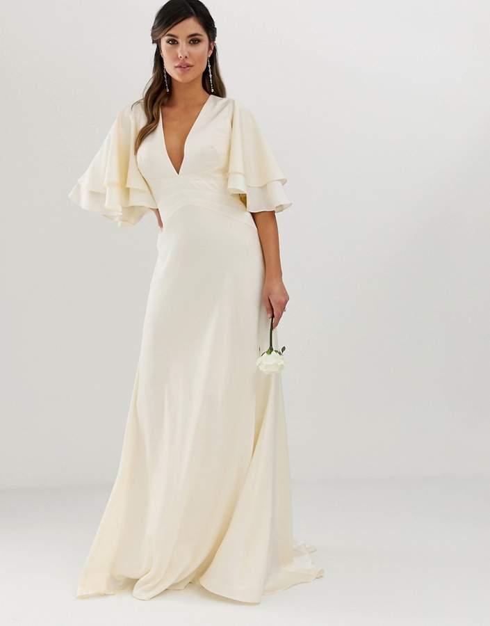 Asos Wedding Dress.Edition Edition Satin Panelled Wedding Dress With Flutter Sleeve