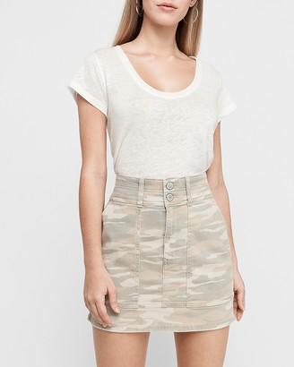 Express Super High Waisted Camo Denim Mini Skirt