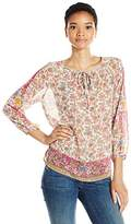 Lucky Brand Women's Scarf Print Peasant Top