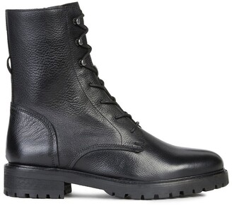 Geox Hoara Leather Lace-Up Ankle Boots