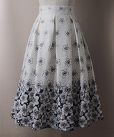 Adele Berto Women's Casual Skirts White - White & Navy Floral Pleated A-Line Skirt - Women