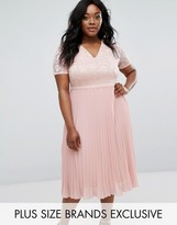 Truly You Lace Bodice Skater Dress With Pleated Skirt