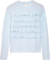 Chinti and Parker Ruffled Ribbed Cashmere Sweater - Sky blue