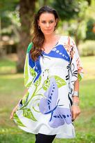 Hand Stamped Caftan Dress with Butterfly Sleeves, 'Butterfly Garden'