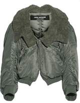 Junya Watanabe Faux Fur-Trimmed Satin-Twill Jacket