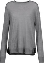 Clu Pleated satin-trimmed stretch-knit sweater