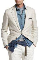 Brunello Cucinelli Three-Button Textured Linen-Blend Traditional Blazer