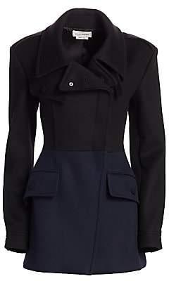 Alexander McQueen Women's Hybrid Bi-Color Short Wool Coat