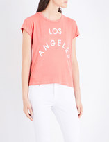Wildfox Couture Los Angeles flocked-print cotton-jersey T-shirt