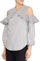 Lauren Ralph Lauren Striped Cold-Shoulder Ruffle Top