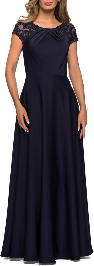 La Femme Pleat Cap Sleeve Satin Gown