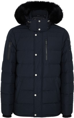 Moose Knuckles Bellwoods Navy Fur-trimmed Twill Parka