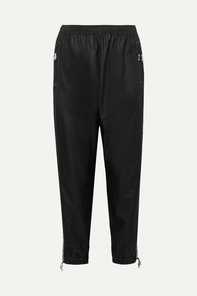 Adam Selman Sport Crystal-embellished Shell Track Pants - Black