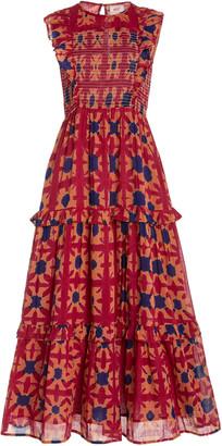 Banjanan Iris Smocked Printed Cotton Midi Dress