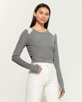 Blanc Noir Color Block Long Sleeve Ribbed Crop Top