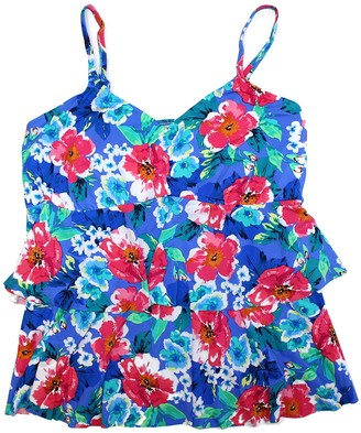 Penbrooke Women's Plus-Size Garden Beauty Double Tier Tankini