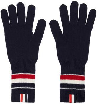 Thom Browne Navy Merino RWB Stripe Gloves