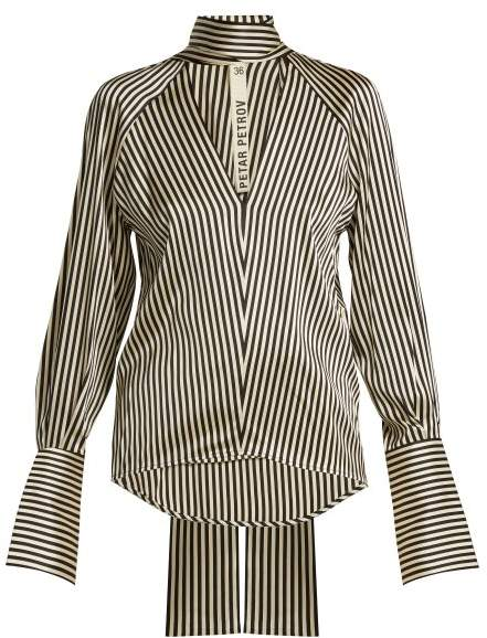 Petar Petrov Eike Striped Silk Blouse - Womens - Black White