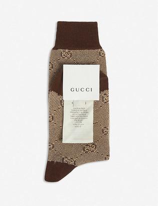 Gucci Kids GG Supreme logo-intarsia wool-blend socks 8-10 years
