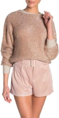 Ontwelfth Fuzzy Metallic Pullover Sweater