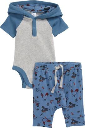 Nordstrom Colorblock Hooded Bodysuit & Print Jogger Pants Set
