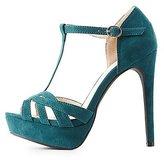Charlotte Russe Faux Suede T-Strap Dress Sandals