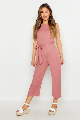 boohoo Petite High Neck Belted Rib Culotte Jumpsuit