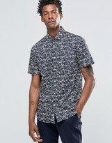 Celio Slim Fit Short Sleeve Shirt With All Over Leaf Print